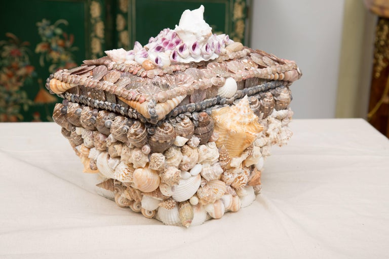 Unknown Shell Encrusted Lidded Box For Sale