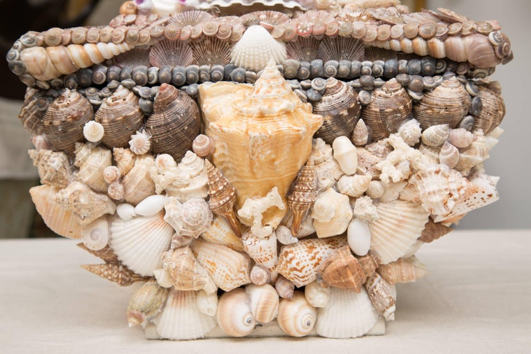 Shell Encrusted Lidded Box In Good Condition For Sale In WEST PALM BEACH, FL