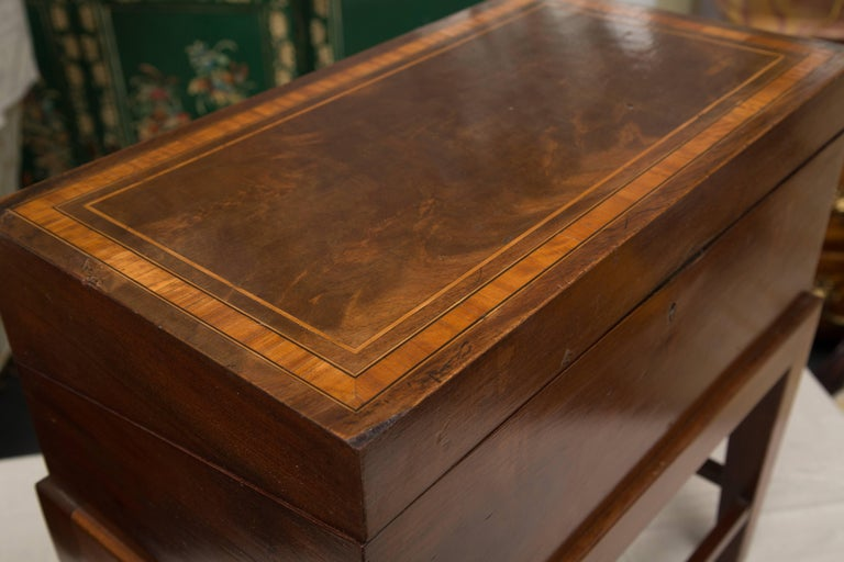 19th Century Mahogany Lap Desk on Later Stand For Sale 1