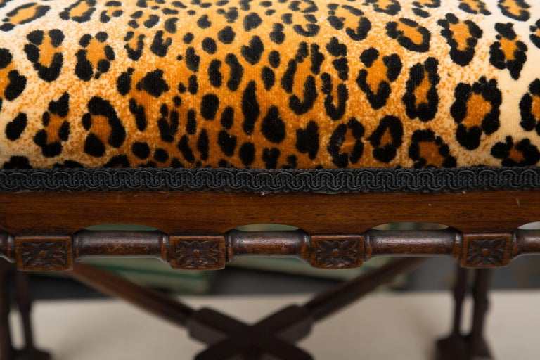Near-Pair of Regency Style Mahogany Faux Bamboo Upholstered Benches In Good Condition For Sale In WEST PALM BEACH, FL
