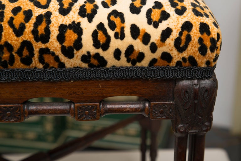19th Century Near-Pair of Regency Style Mahogany Faux Bamboo Upholstered Benches For Sale