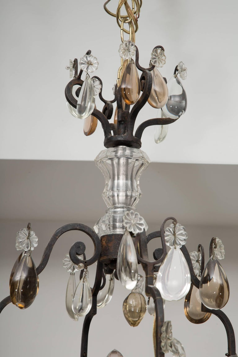 Hand-Crafted French Eight-Light Chandelier with Multi-Form Pendants For Sale