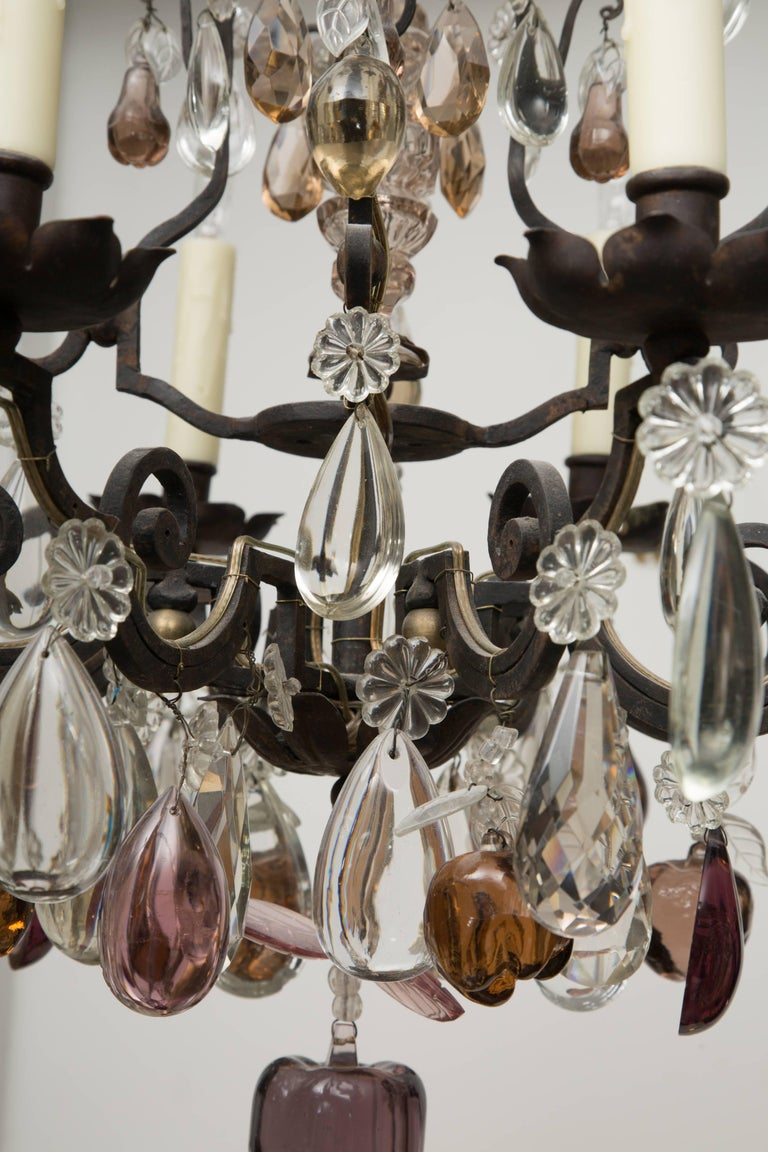 French Eight-Light Chandelier with Multi-Form Pendants In Good Condition For Sale In WEST PALM BEACH, FL
