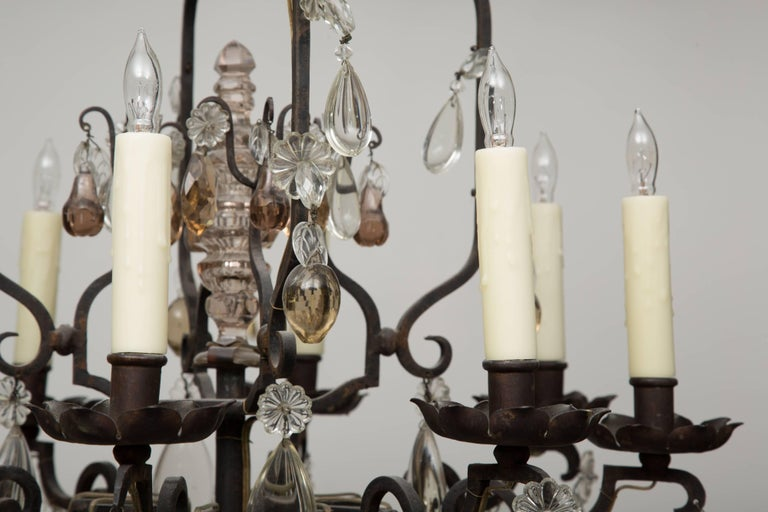 20th Century French Eight-Light Chandelier with Multi-Form Pendants For Sale