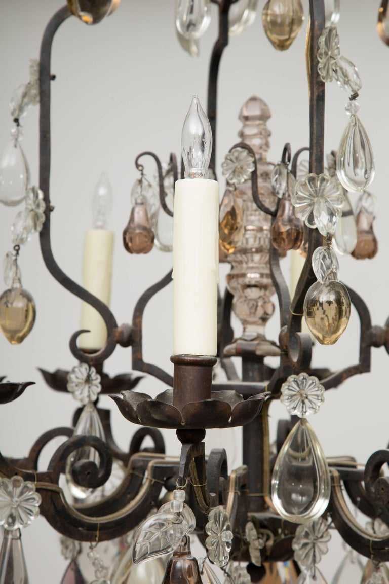 Iron French Eight-Light Chandelier with Multi-Form Pendants For Sale
