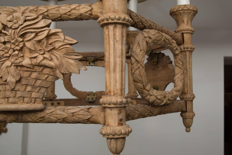 French Beechwood Empire Style Chandelier In Good Condition For Sale In WEST PALM BEACH, FL