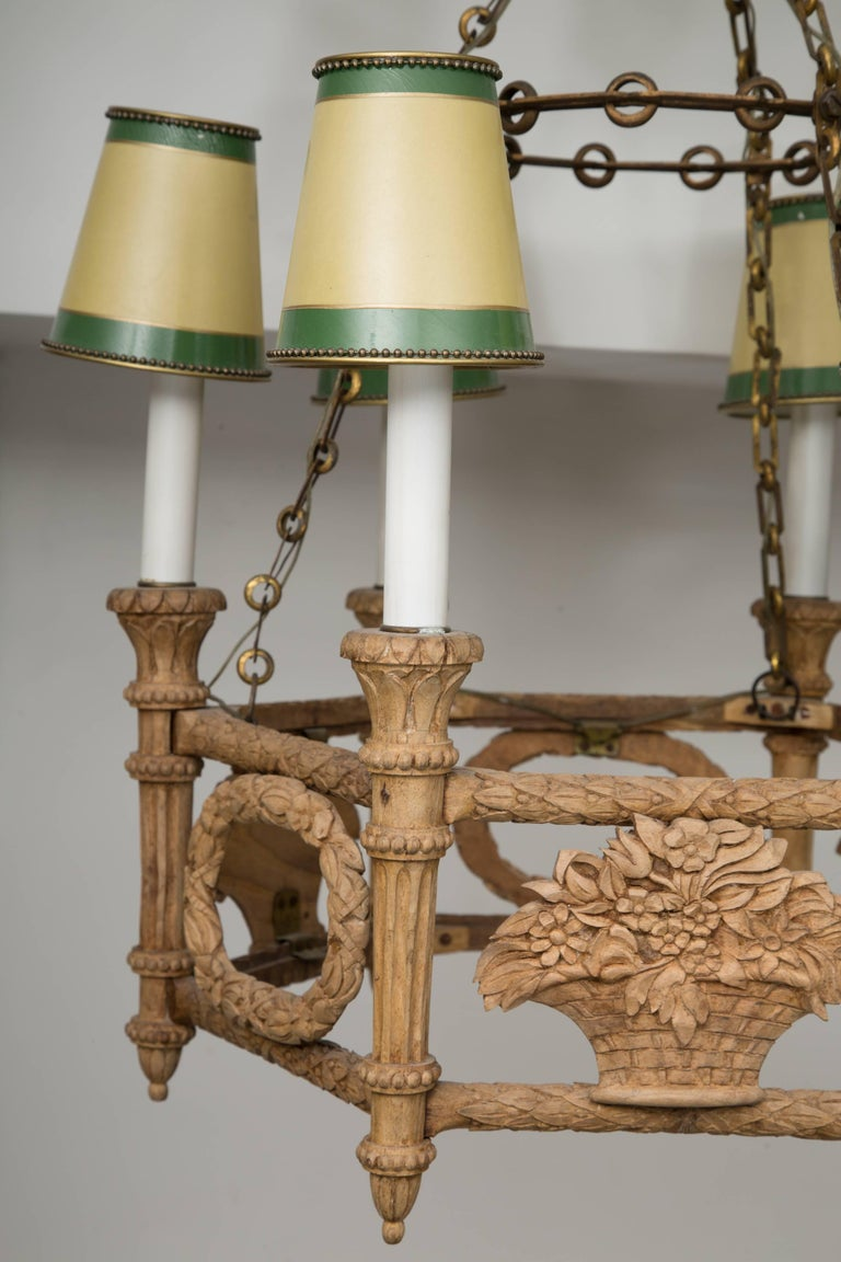 20th Century French Beechwood Empire Style Chandelier For Sale