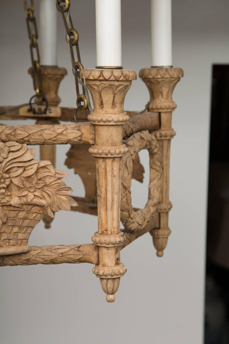 French Beechwood Empire Style Chandelier For Sale 1