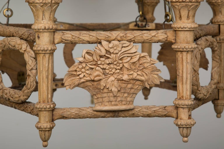 French Beechwood Empire Style Chandelier For Sale 2