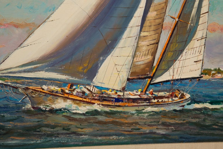 Oiled American Marine Oil on Board by Wayne Morrell For Sale