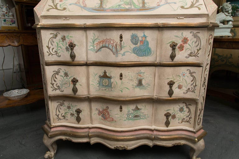 Chinoiserie and Cream-Painted Italian Queen Anne Style Secretary For Sale 6