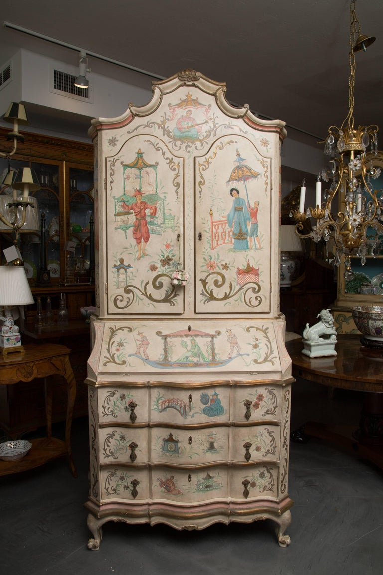 Chinoiserie and Cream-Painted Italian Queen Anne Style Secretary For Sale 12