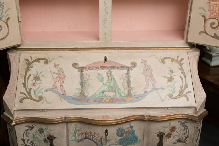 Chinoiserie and Cream-Painted Italian Queen Anne Style Secretary For Sale 11