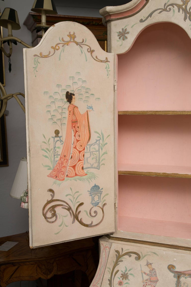 Chinoiserie and Cream-Painted Italian Queen Anne Style Secretary For Sale 10