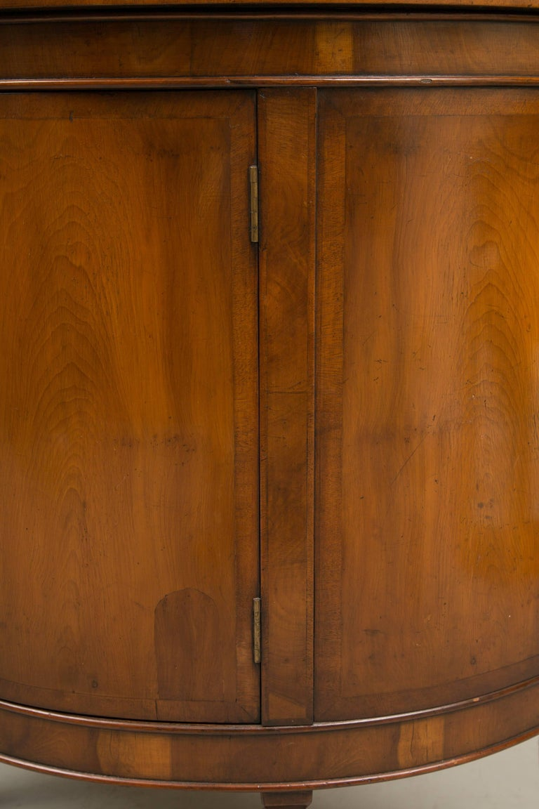 Pair of Cherrywood Biedermeier Style Demilune Cabinets For Sale 2