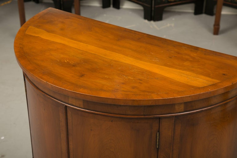 Pair of Cherrywood Biedermeier Style Demilune Cabinets For Sale 3