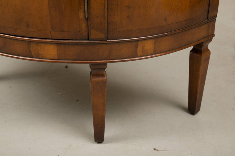 Pair of Cherrywood Biedermeier Style Demilune Cabinets For Sale 4