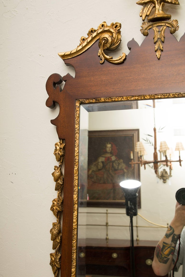 Mahogany and Parcel-Gilt George II Style Mirrors In Good Condition For Sale In WEST PALM BEACH, FL