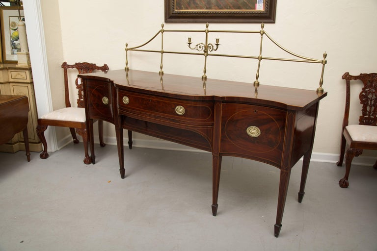 Hand-Carved 18th Century American Hepplewhite Mahogany Sideboard with Brass Gallery For Sale