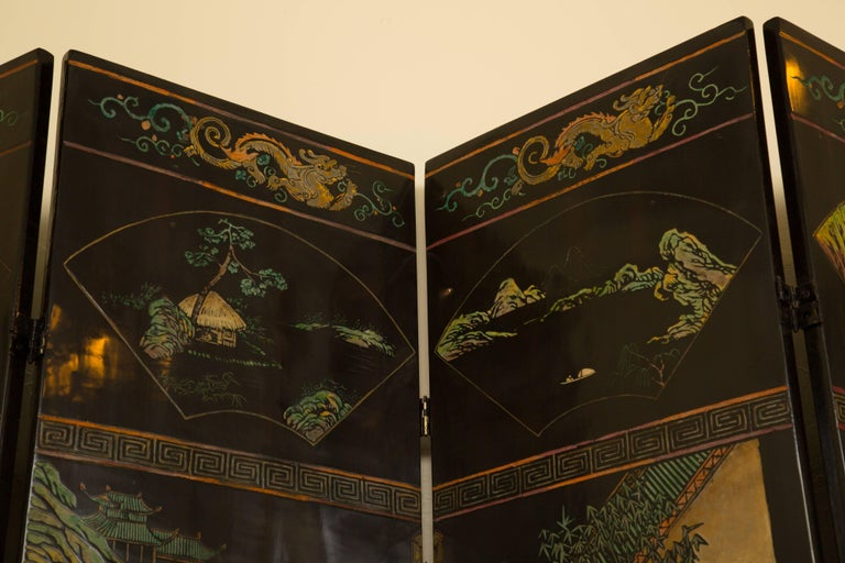 Wood Magnificent Chinese 12-Panel Coromandel Screen For Sale