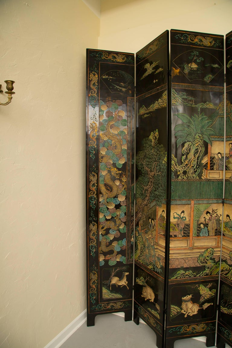 Magnificent Chinese 12-Panel Coromandel Screen For Sale 7