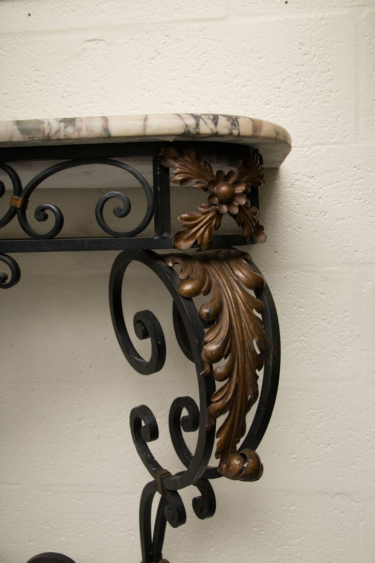 Late 19th Century French Rococo Revival Iron Console with Marble Top For Sale 1