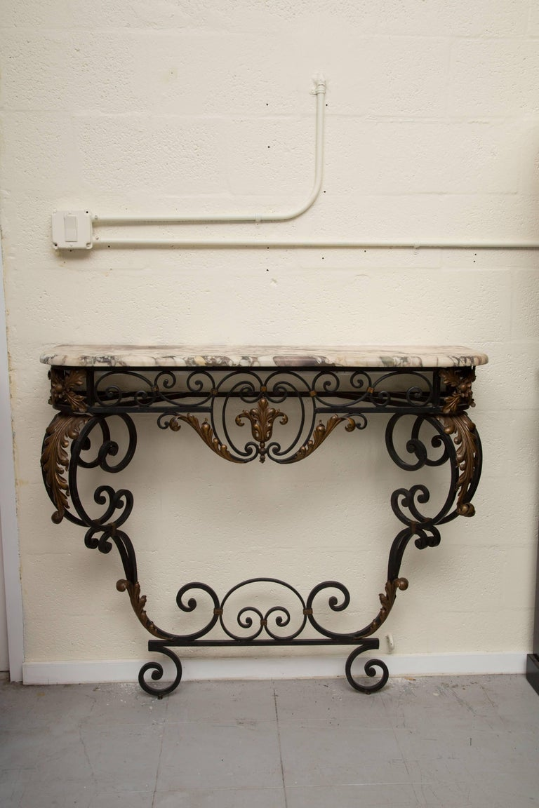 Late 19th Century French Rococo Revival Iron Console with Marble Top For Sale 5