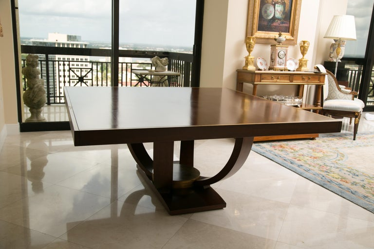 Art Deco Karl Springer Style Custom Mahogany Dining Table with Gilt Peripheral Banding For Sale