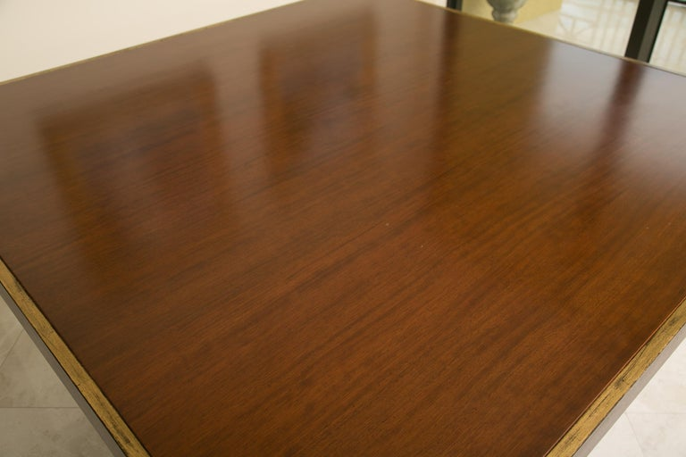 Late 20th Century Karl Springer Style Custom Mahogany Dining Table with Gilt Peripheral Banding For Sale