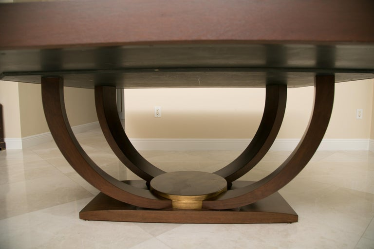 Karl Springer Style Custom Mahogany Dining Table with Gilt Peripheral Banding For Sale 1