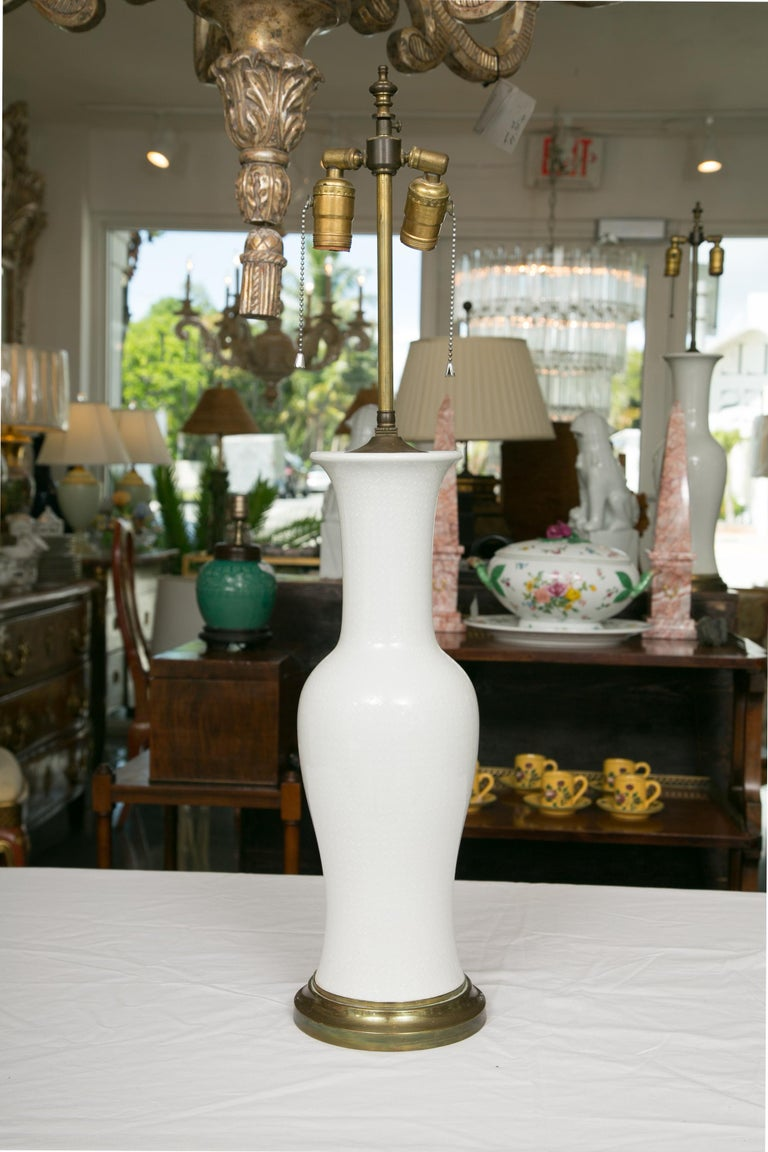Pair of Lightly Textured Blanc de Chine Baluster Lamps In Good Condition For Sale In WEST PALM BEACH, FL
