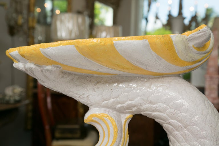 Pair of Midcentury Faience Glazed Dolphin Figures For Sale 1
