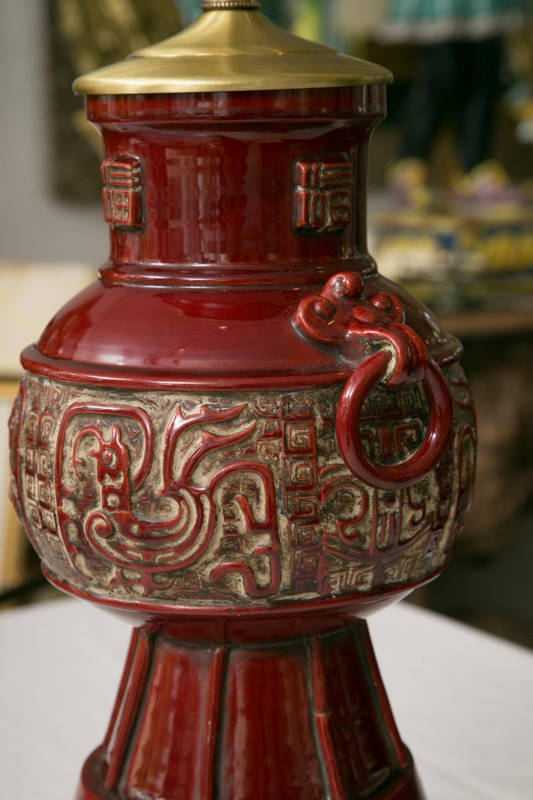 Ebonized Blood Red Asian Inspired Vessels as Table Lamps For Sale