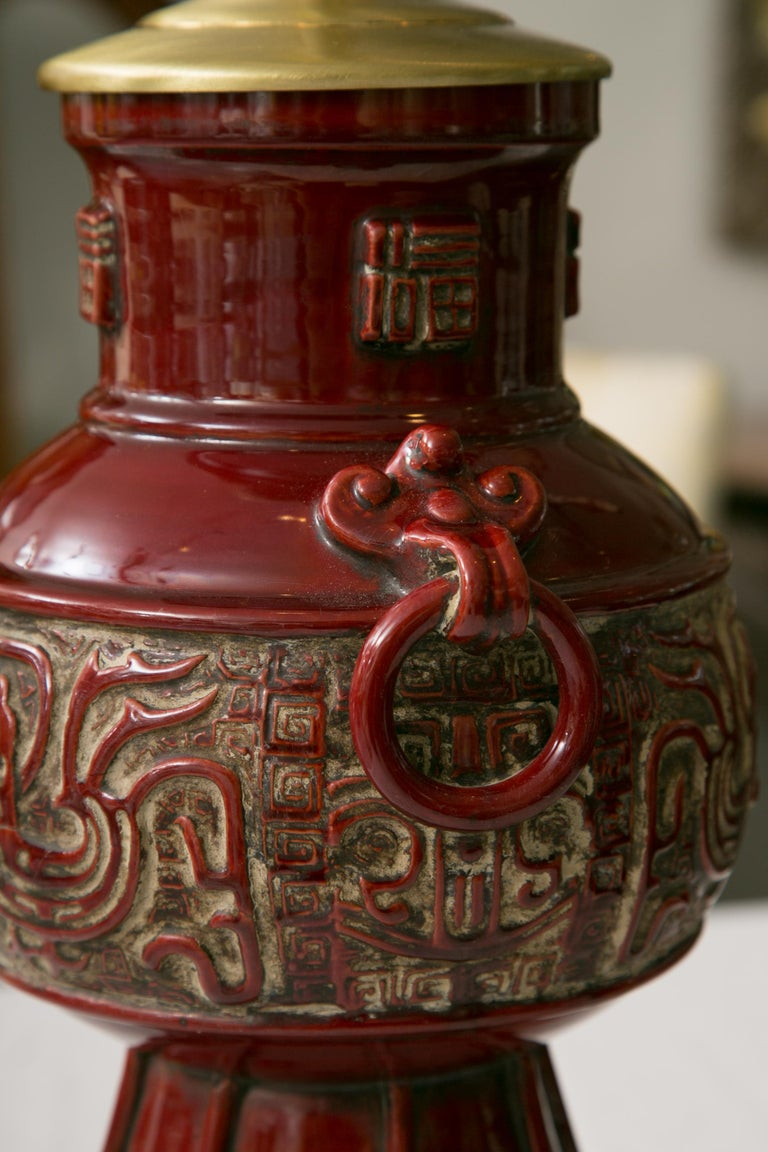 Blood Red Asian Inspired Vessels as Table Lamps In Good Condition For Sale In WEST PALM BEACH, FL