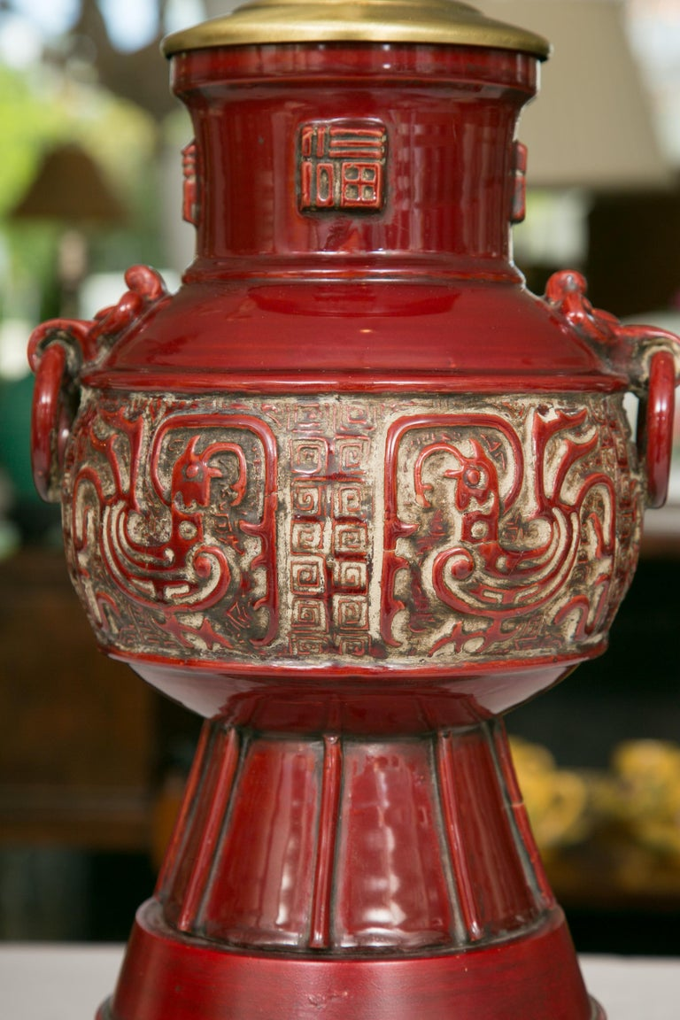 20th Century Blood Red Asian Inspired Vessels as Table Lamps For Sale