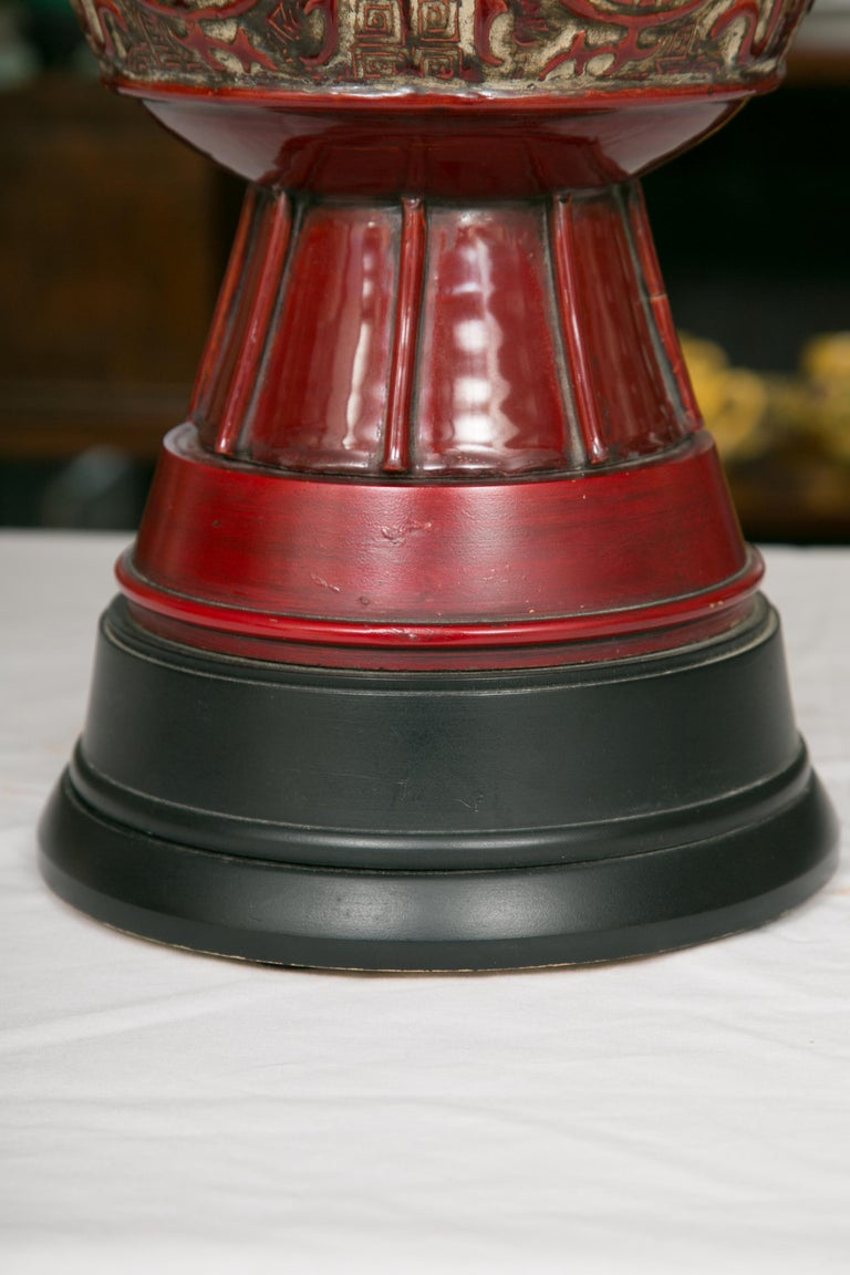 Pottery Blood Red Asian Inspired Vessels as Table Lamps For Sale
