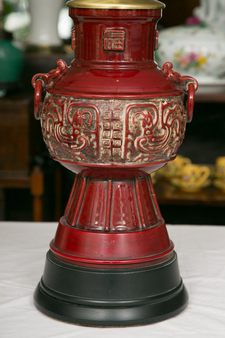 Blood Red Asian Inspired Vessels as Table Lamps For Sale 1
