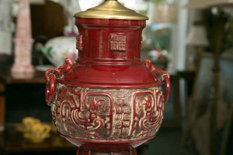 Blood Red Asian Inspired Vessels as Table Lamps For Sale 2
