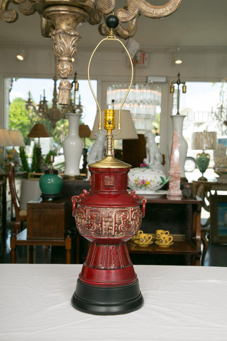 Blood Red Asian Inspired Vessels as Table Lamps For Sale 3