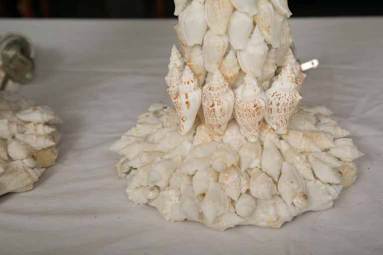 Hand-Crafted Pair of Shell Encrusted Table Lamps For Sale