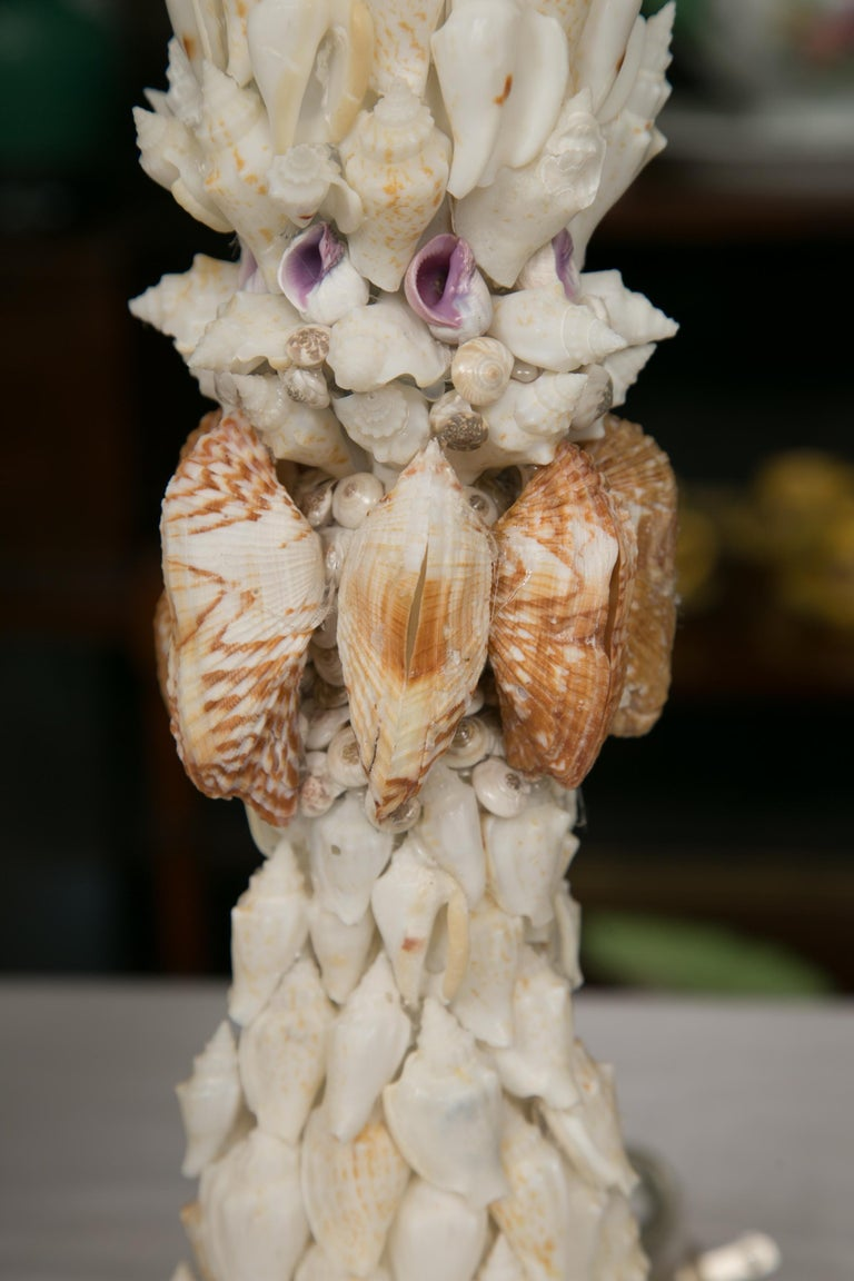 Pair of Shell Encrusted Table Lamps For Sale 1