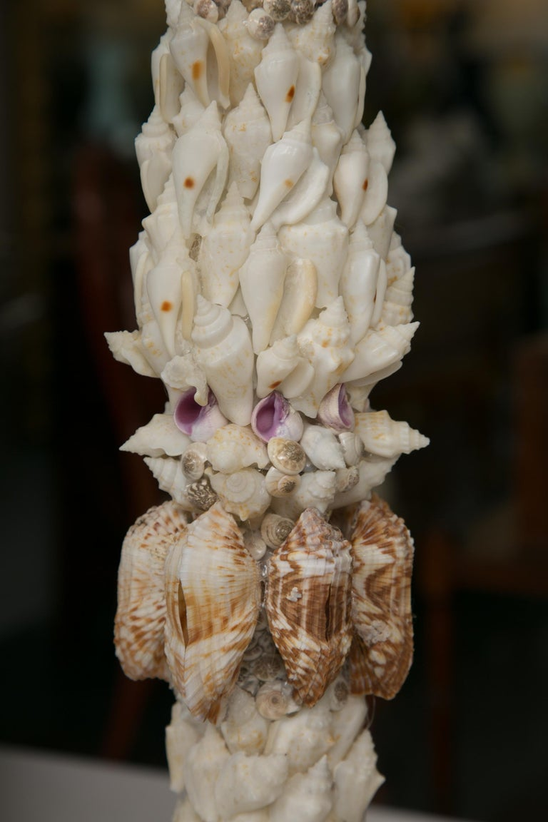 Pair of Shell Encrusted Table Lamps For Sale 2