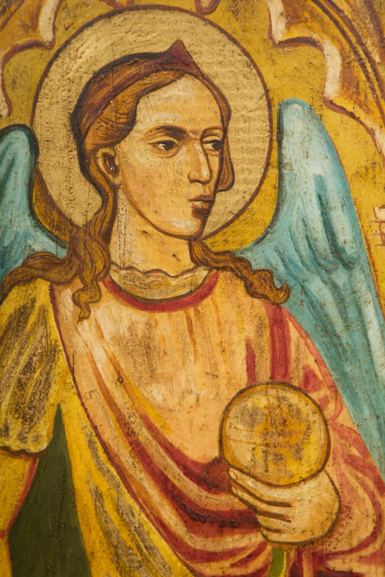 Religious Icon Painted on Board In Distressed Condition For Sale In WEST PALM BEACH, FL