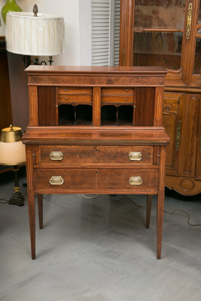 American Federal Writing Desk with Tambour Doors For Sale 8
