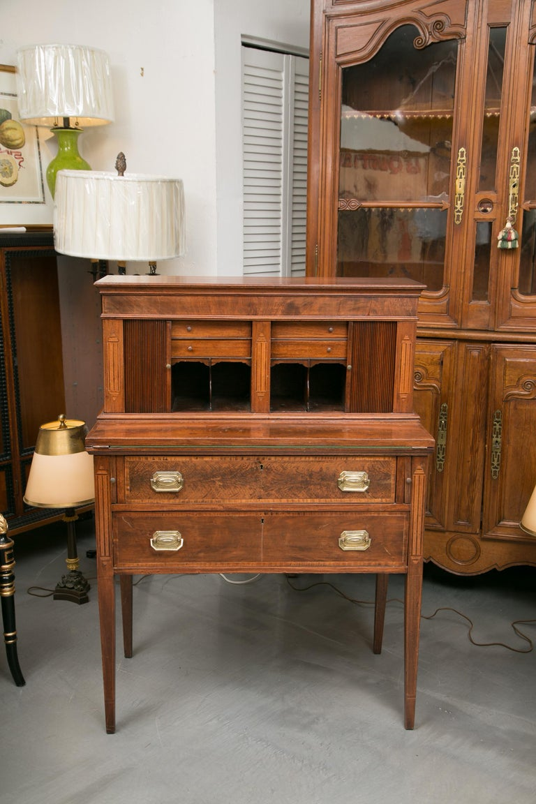 American Federal Writing Desk with Tambour Doors For Sale 9