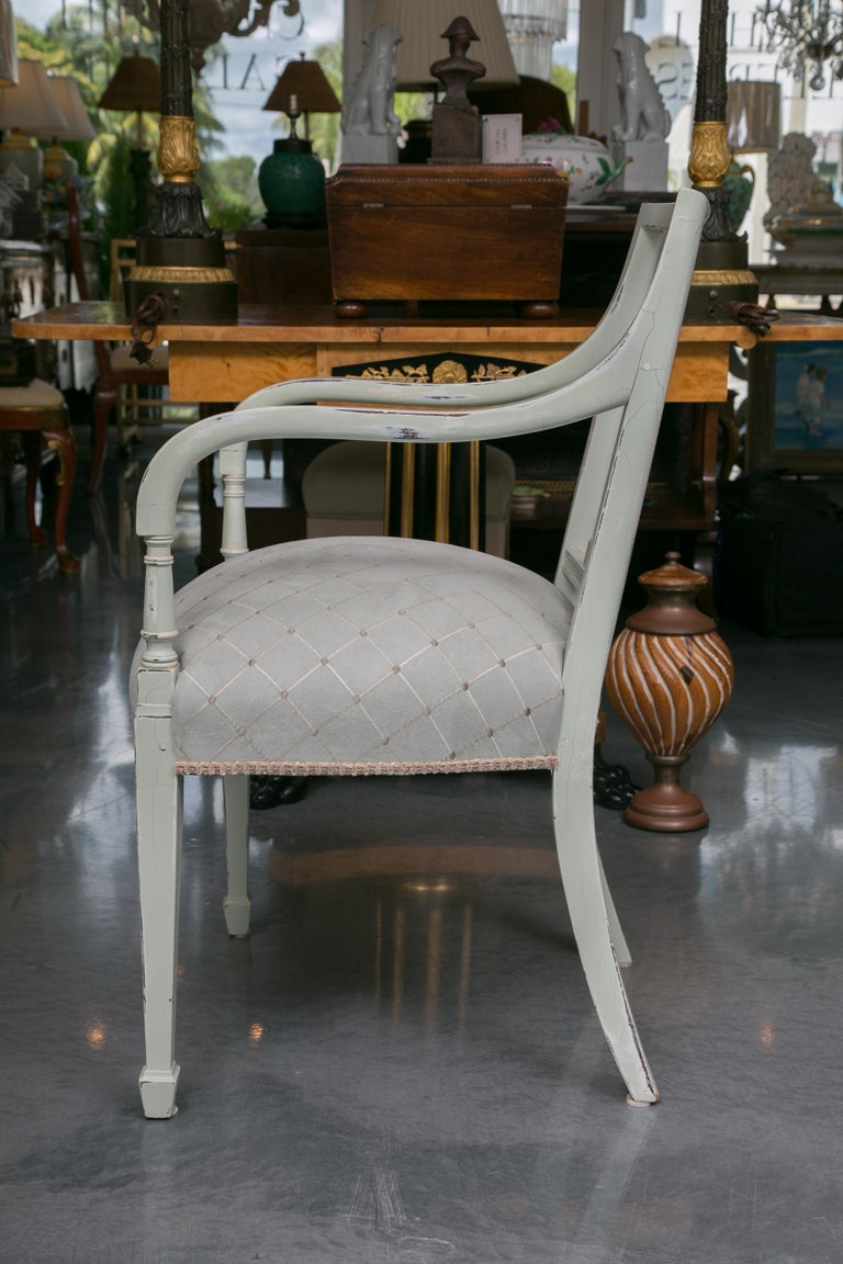 Set of Six Swedish Painted Dining Chairs For Sale 2