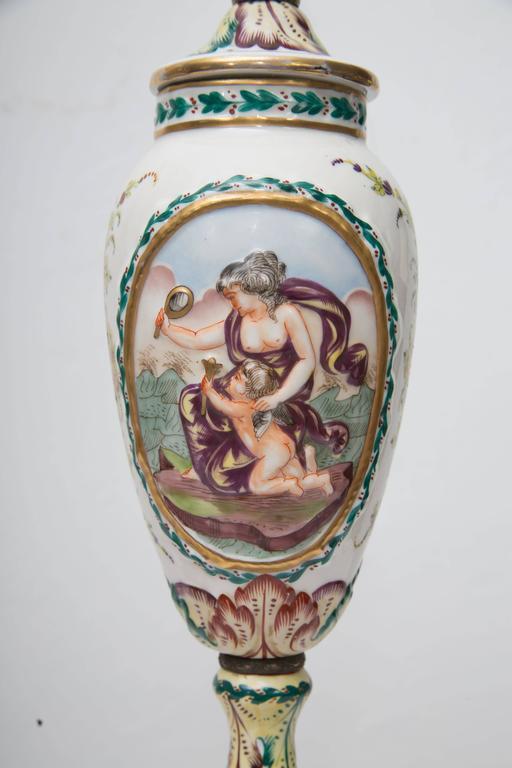 19th Century Pair Of Italian Porcelain Capodimonte Vases As Table