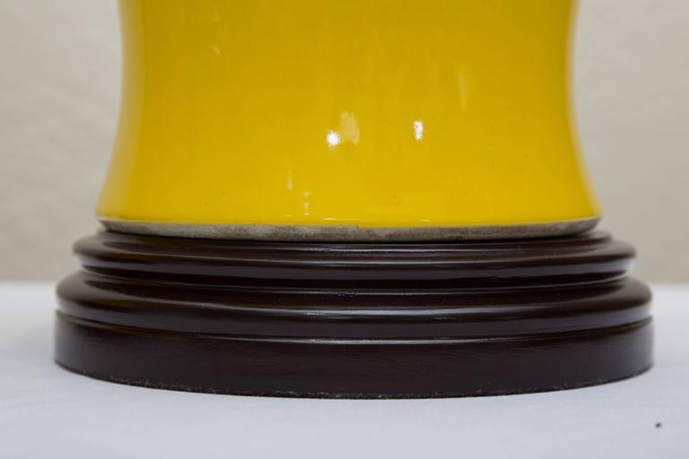 Other Pair of Yellow Asian Lidded Vases as Lamps For Sale