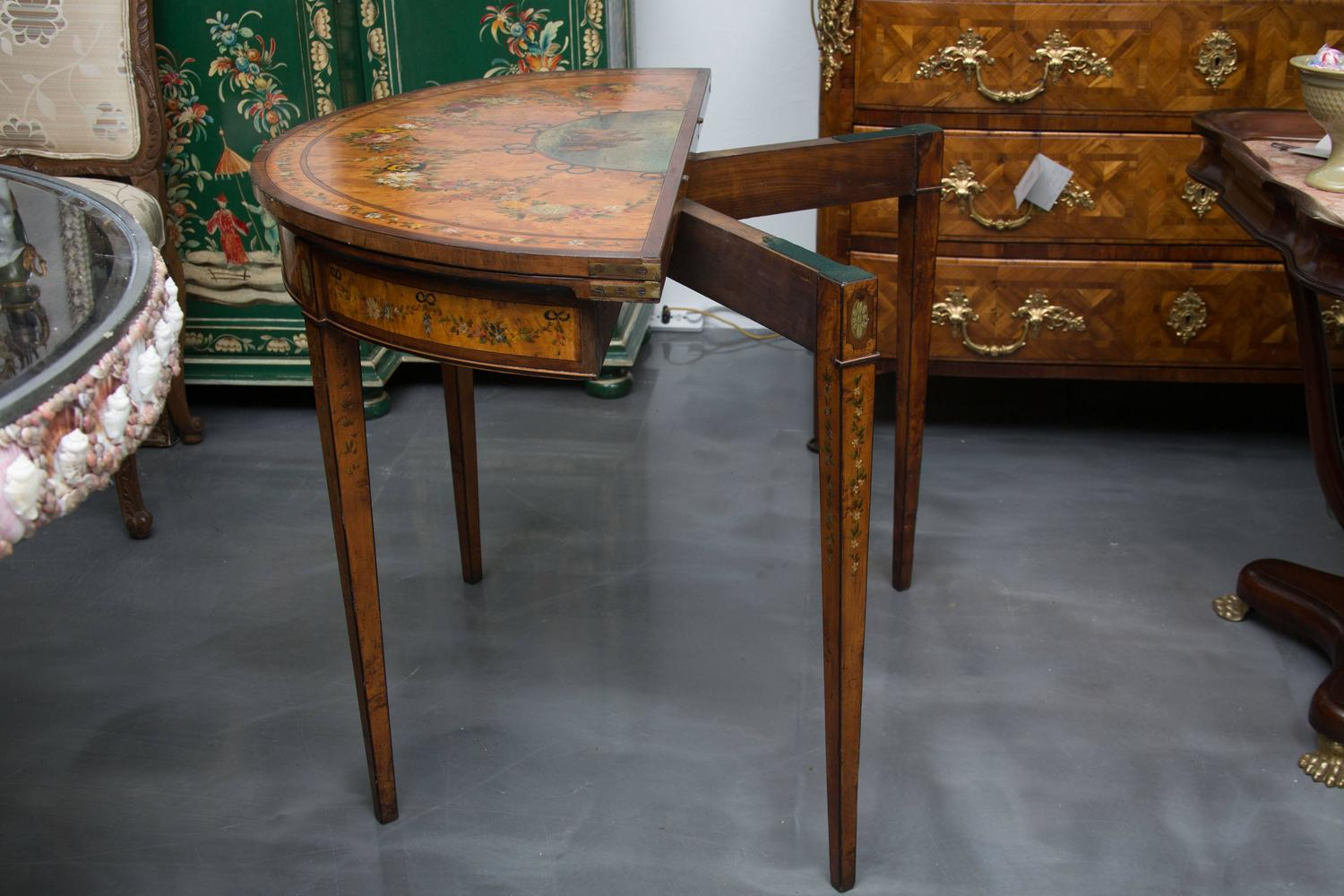 Late 19th Century Adams Style Demilune Game Table For Sale At 1stdibs