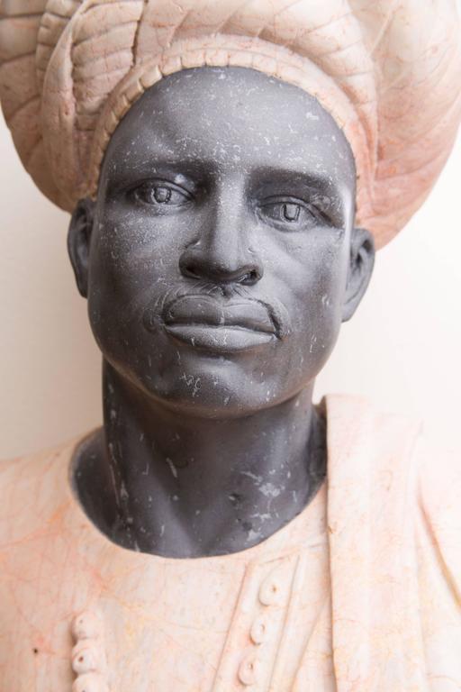 Moorish Marble Bust of Moor For Sale